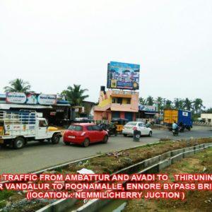 Adinn-outdoor-billboard-Facing traffic from Ambattur to avadi to thiruninravur Near Vandalur to poonamalle, Ennore by pass Bridge ( Nemmilicherry Junction), Chennai