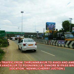 Adinn-outdoor-billboard-Facing traffic from thiruninravur to avadi and Ambattur Near Vandalur to poonamalle, Ennore by pass Bridge ( Nemmilicherry Junction), Chennai